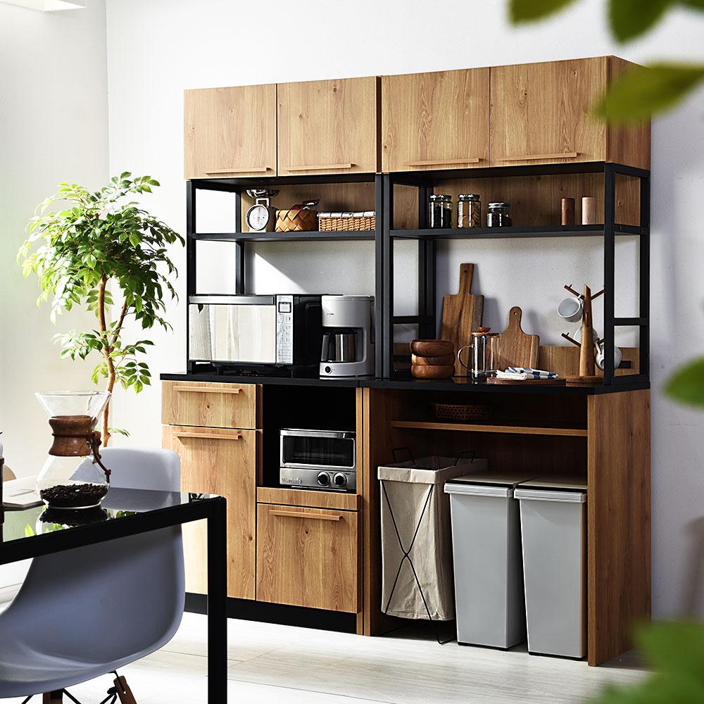 北欧風デザイン 食器棚/レンジ台 クエス