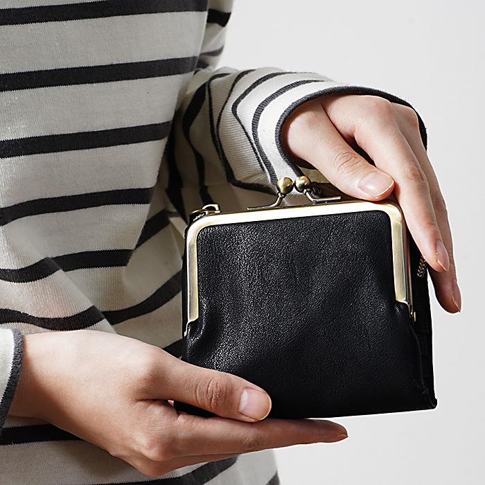 合皮 がま口 二つ折り 財布