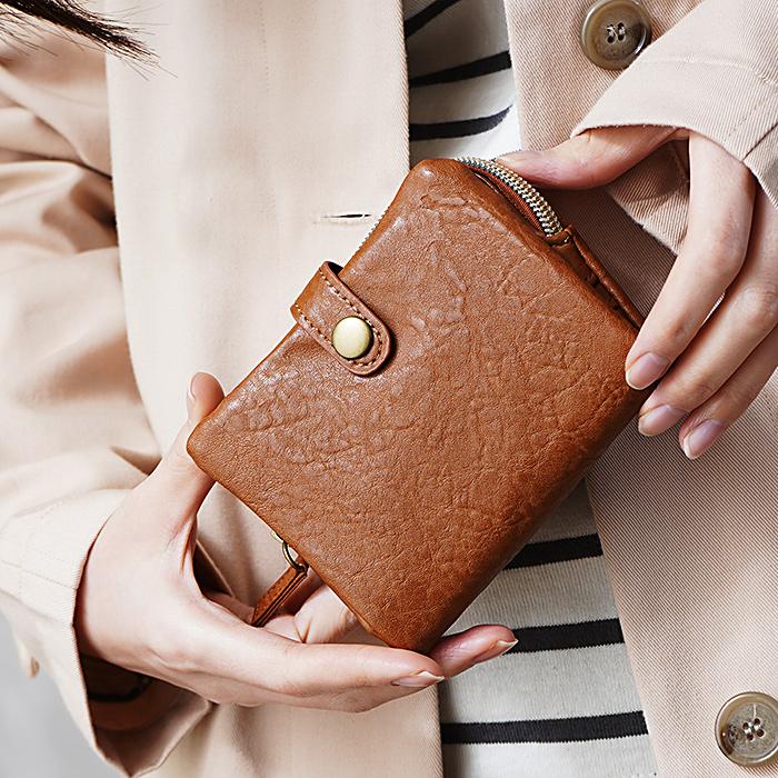 しぼ合皮 二つ折り 財布